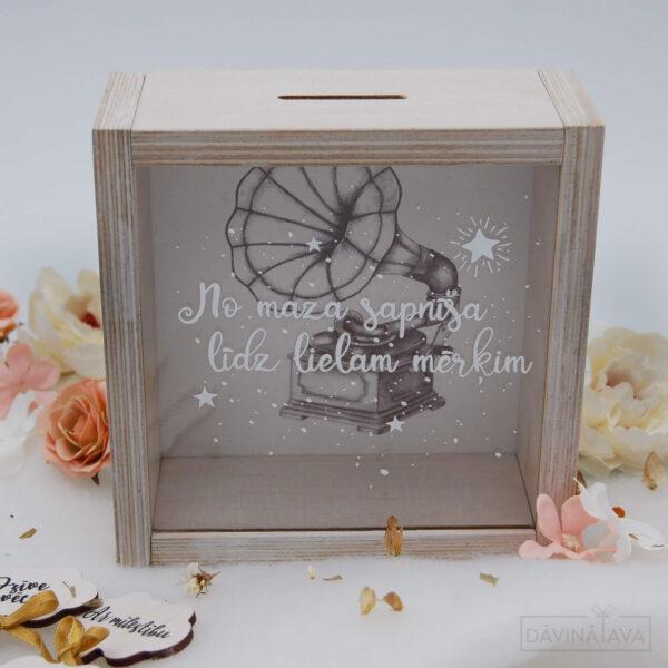 koka krājkasīte, naudas kaste, naudas glabaanas kaste, davana dzimsanas dienai