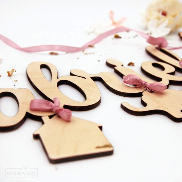 bērna dzimšanas dati koka dekorā, dekoratīvs bērna vārdiņš