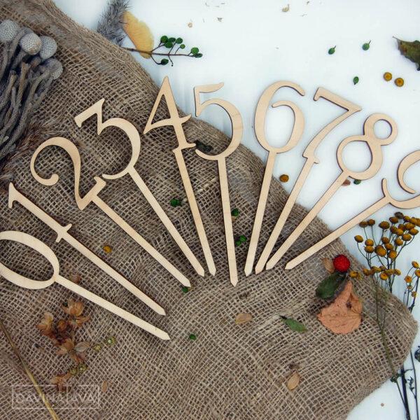 cipari dekors kūkai, dzimšanas dienas dekori, aksesuāri saldajiem ēdieniem, koka cipari