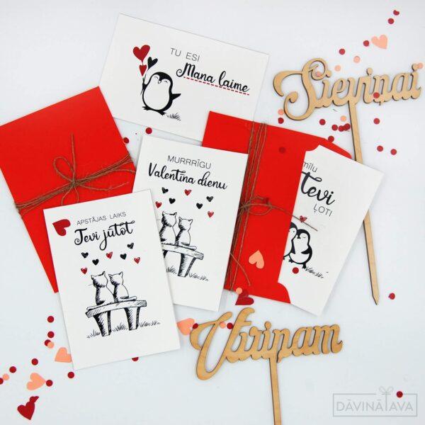 apsveikumu kartiņa valentīndienai, sirsniņdiena, pingvīna ilustrācija, mīlestības vēstule