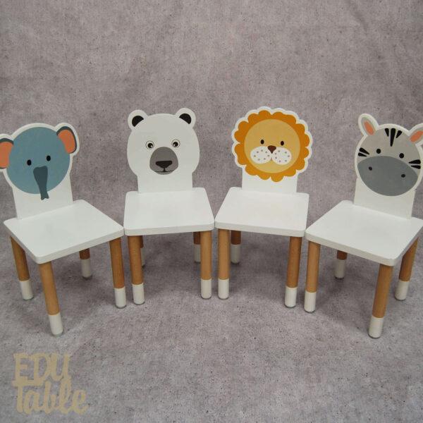 Koka bērnu krēsliņi, koka mēbeles bērniem, mēbeles ar dzīvnieku siluetu, baltas bērnu mēbeles