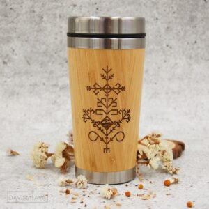 koka termokrūze, koka termoss, trauki atpūtai dabā, kafijas krūze, tējas krūze, koka krūze ar gravējumu